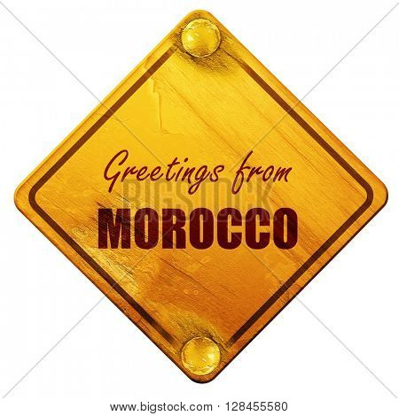 Greetings from morocco, 3D rendering, isolated grunge yellow roa