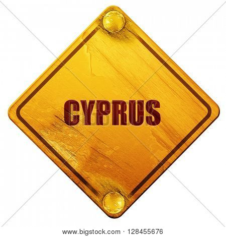 Greetings from cyprus, 3D rendering, isolated grunge yellow road