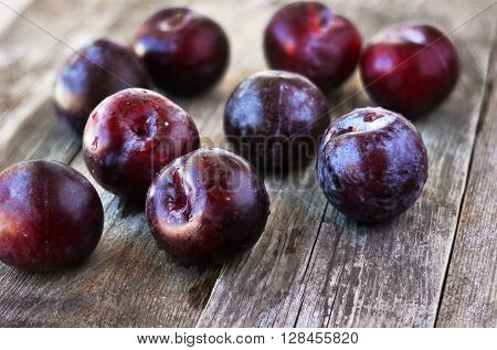 Prunus domestica. Ripe Plums on the wood backgraund.
