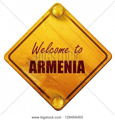 Welcome to armenia, 3D rendering, isolated grunge yellow road si