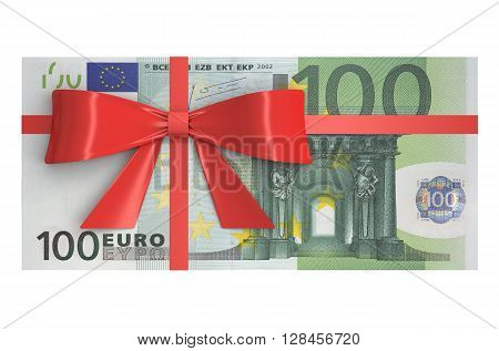 Wad of 100 Euro banknotes with red bow gift concept. 3D rendering