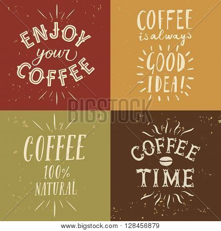 Coffee to go textured set with hand drawn lettering. Vintage coffee illustrations for your design.