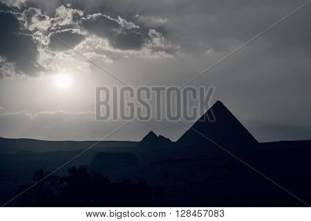 The Great Pyramid of Giza at sunset. Post processed with black and white filter.