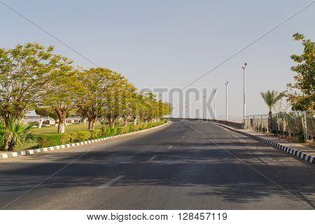 Empty road above Aswan High Dam, Egypt.