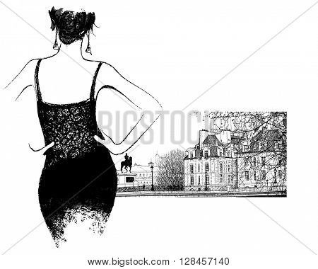 Young fashion woman looking the
