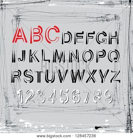 Vector grunge alphabet.  Letters and numbers set for your design.