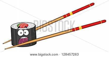 Panic Sushi Roll Cartoon Mascot Character With Chopsticks