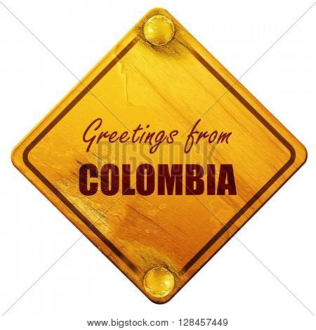 Greetings from colombia, 3D rendering, isolated grunge yellow ro