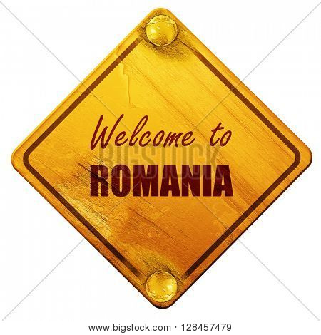 greetings from romania, 3D rendering, isolated grunge yellow roa