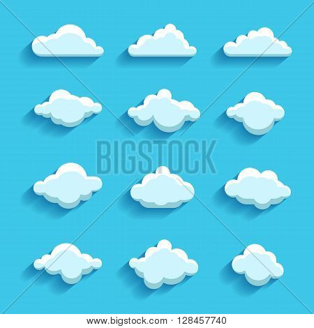 clouds sky heaven icon symbol label logo sign set