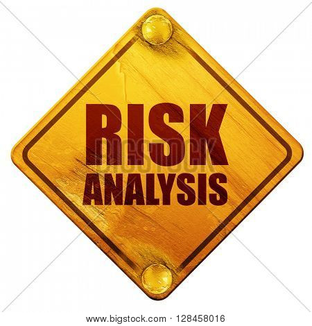risk analysis, 3D rendering, isolated grunge yellow road sign