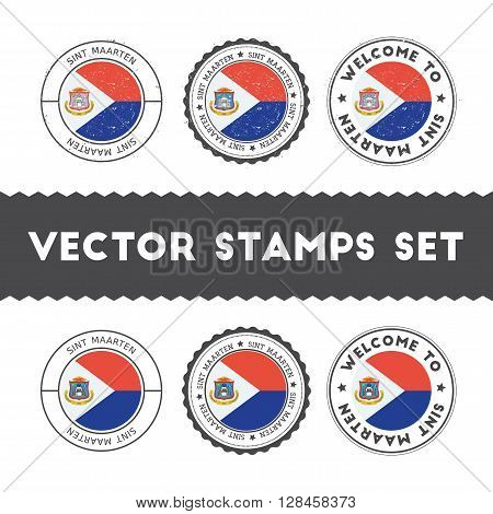 Dutch Flag Rubber Stamps Set. National Flags Grunge Stamps. Country Round Badges Collection.