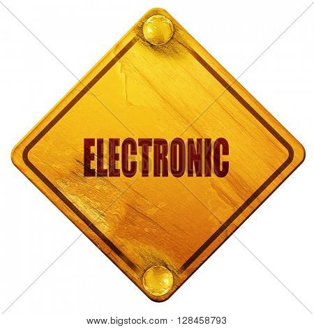 electronic music, 3D rendering, isolated grunge yellow road sign