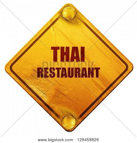 Delicious thai cuisine, 3D rendering, isolated grunge yellow roa