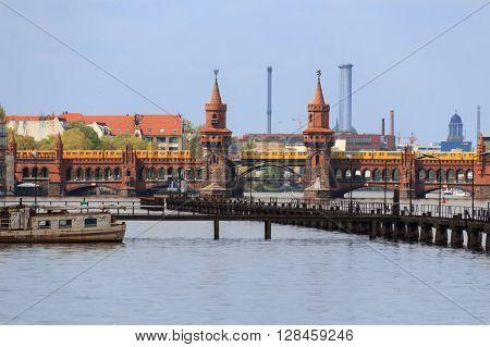 Berlin City Skyline - River And Bridge In Kreuzberg