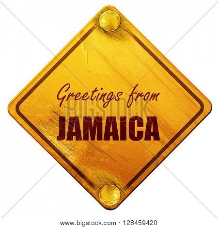Greetings from jamaica, 3D rendering, isolated grunge yellow roa