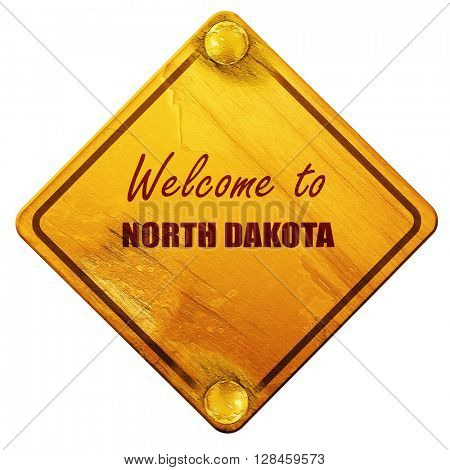 Welcome to north dakota, 3D rendering, isolated grunge yellow ro