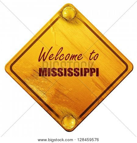 Welcome to mississippi, 3D rendering, isolated grunge yellow roa