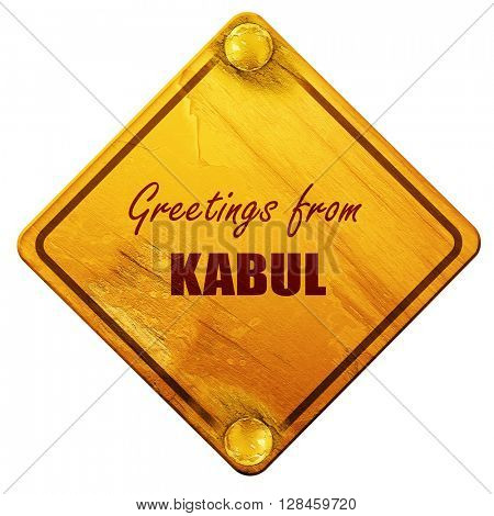 Greetings from kabul, 3D rendering, isolated grunge yellow road