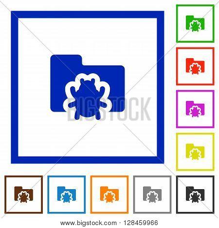 Set of color square framed bug folder flat icons on white background