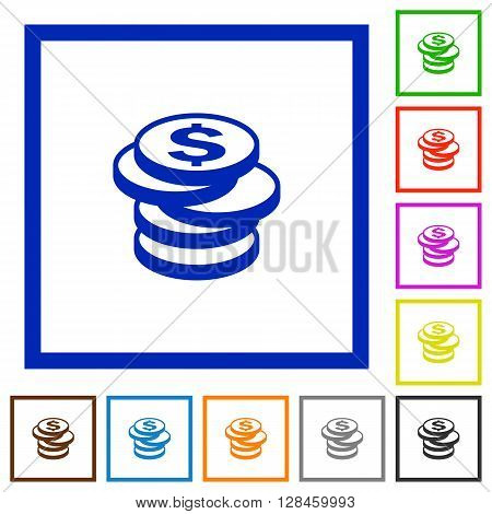Set of color square framed dollar coins flat icons on white background