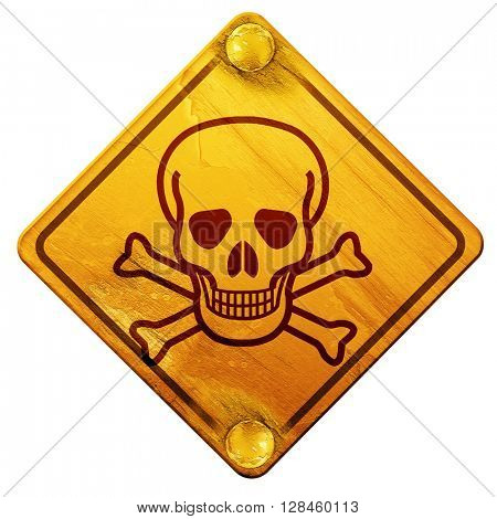 Poison sign background, 3D rendering, isolated grunge yellow roa