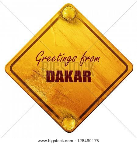 Greetings from dakar, 3D rendering, isolated grunge yellow road