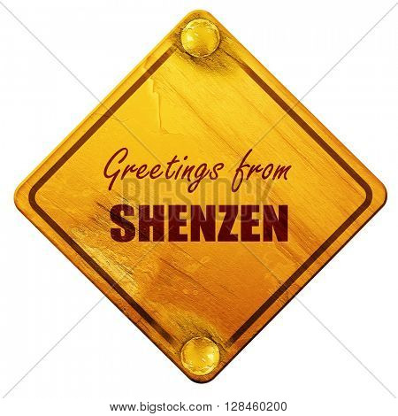 Greetings from shenzen, 3D rendering, isolated grunge yellow roa