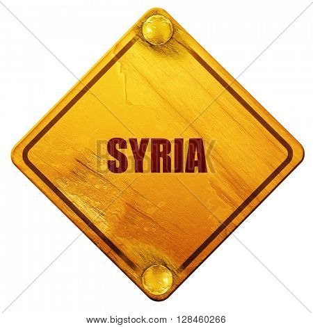 Greetings from syria, 3D rendering, isolated grunge yellow road