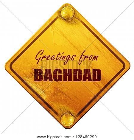 Greetings from baghdad, 3D rendering, isolated grunge yellow roa