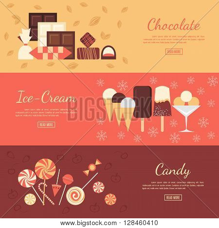 Horizontal banner set with chocolate sweets, ice cream and candies. Elements isolated on separate background. Advertising dessert booklet. Restaurant visit card. Candy shop poster.