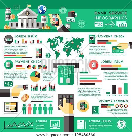 Bank service infographics with world map card money smartphone atm office building statistics graphs diagrams vector illustration