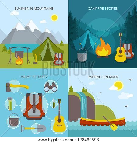 Camping square icon set with description of summer in mountains campfire stories rafting on river and tourists tools vector illustration