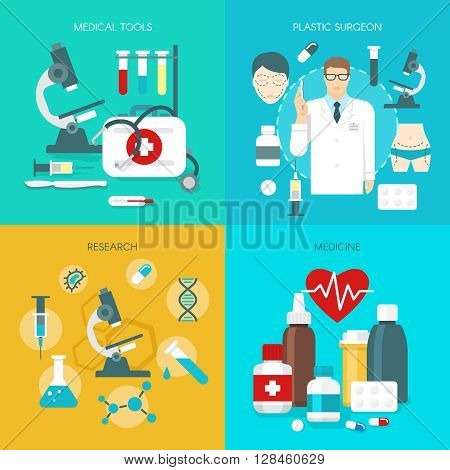 Flat medicine icon set with description of medical tools plastic surgeon research and using drugs vector illustration
