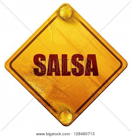 salsa dance, 3D rendering, isolated grunge yellow road sign