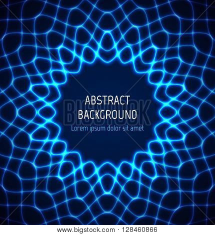 Abstract blue circle neon border background with light effects. Vector illustration