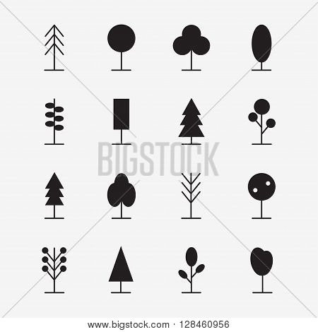 Tree icons set. Isolated tree icons on background. Simple tree design. Forest trees. Modern tree icons. Flat style vector illustration.