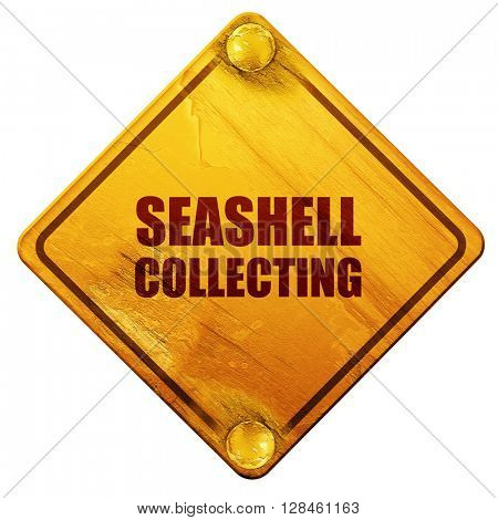 seashell collecting, 3D rendering, isolated grunge yellow road s