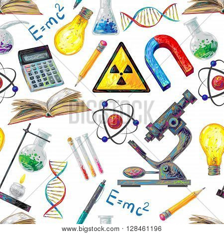 Science seamless pattern with calculator flask tube lamp dna microscope atom burner on white background vector illustration