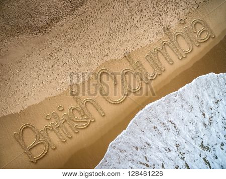 British Columbia written on the beach