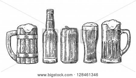 Beer glass mug can bottle hop. Vector vintage engraved illustration isolated on white background