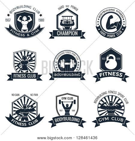 Bodybuilding black and white different shapes labels set with ribbons at the bottom of various sports themes vector illustration