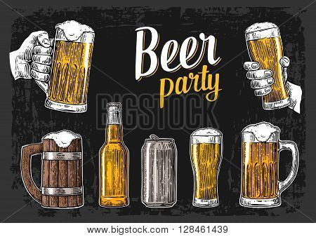 Two hands holding beer glasses mug. Glass can bottle. Vintage vector engraving illustration for web poster invitation to beer party. Isolated on dark background.