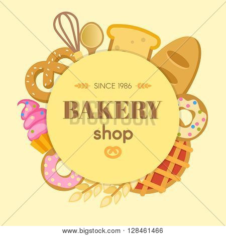Bakery flat round composition with whisk spoon bread cupcake bagel donut wheat on beige background vector illustration