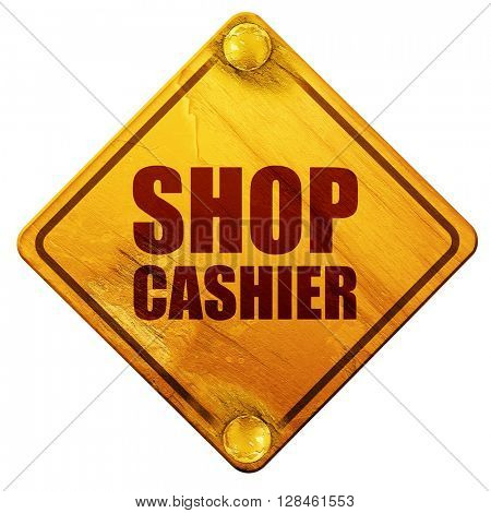 shop cashier, 3D rendering, isolated grunge yellow road sign