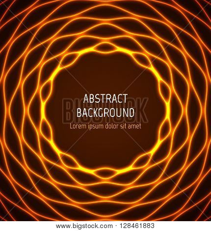 Abstract orange circle wavy border background with light effects. Vector illustration
