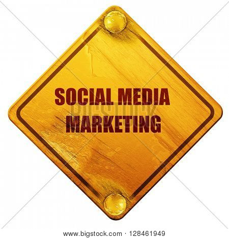 social meda marketing, 3D rendering, isolated grunge yellow road
