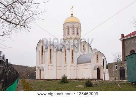 Varvarovka, Russia - March 15, 2016: At The Church Of Great Martyr Barbara View Varvarovka In The Vi