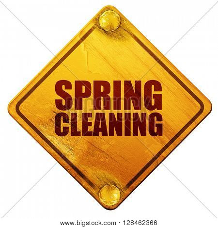 spring cleaning, 3D rendering, isolated grunge yellow road sign