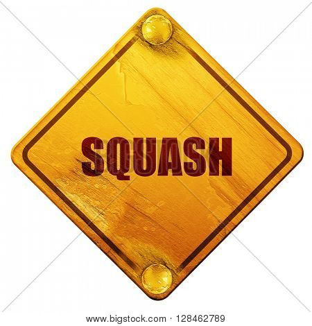 squash sign background, 3D rendering, isolated grunge yellow roa